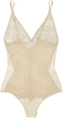 I.D. Sarrieri Mystere De Minuit Embroidered Silk-blend Tulle And Satin Bodysuit