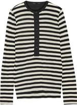 Proenza Schouler Cotton-poplin trimmed striped stretch-cotton top