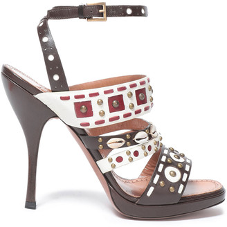 Alaia Embellished Woven Leather Sandals