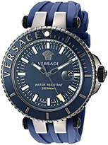 Versace Men's 'V-Race Diver' Swiss Quartz Stainless Steel and Silicone Casual Watch, Color:Blue (Model: VAK020016)