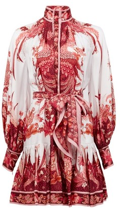 Zimmermann Wavelength Bird And Floral-print Silk Mini Dress - Pink Print