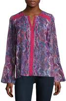 T Tahari Women's Embellished Peasant Blouse - Purple Multi, Size x-small