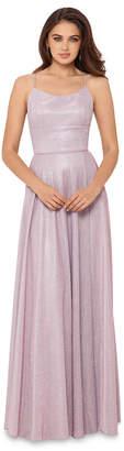 Betsy & Adam Allover-Glitter Tie-Back Gown
