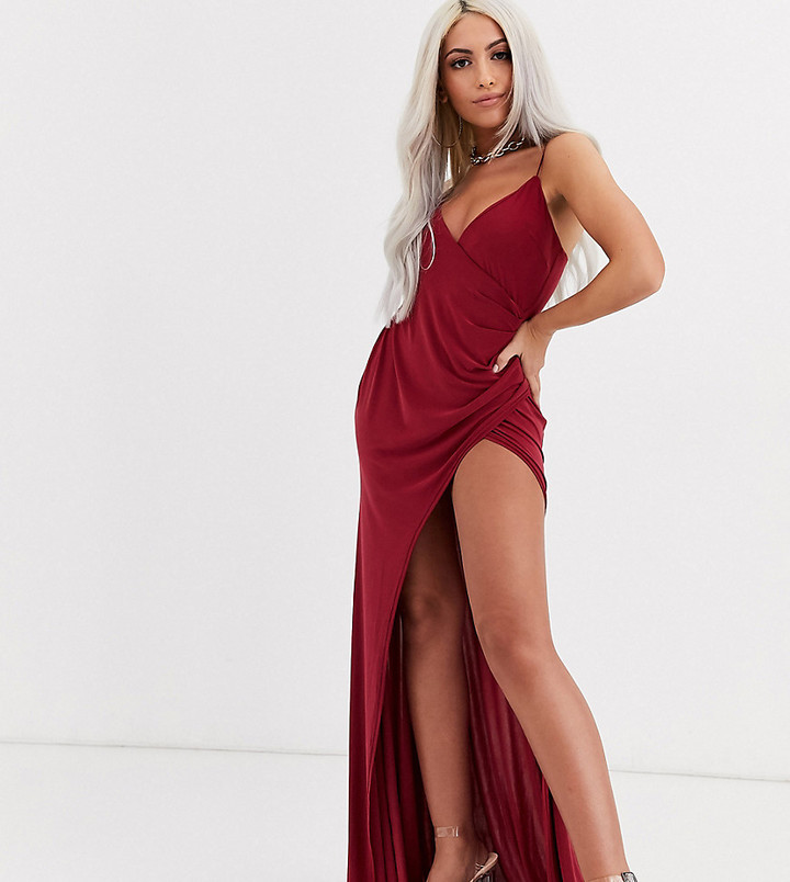 Club L London Petite plunge front maxi dress with high thigh split in raspberry