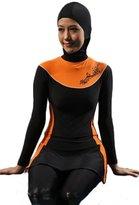 TACVASEN Women's Full Coverage Modest Swimsuit Hijab Hooded Islamic Swimwear