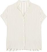 Brunello Cucinelli Ruffled Striped Silk Shirt - Ecru
