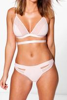 Boohoo Kara Blush Microfibre And Mesh Panel Thong blush