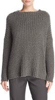 Vince Ladder-Stitched Funnel-Neck Cashmere-Blend Sweater, Charcoal