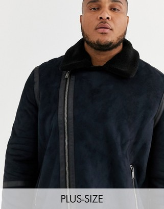 Burton Menswear Big & Tall shearling jacket in black