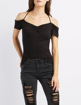 Charlotte Russe Ribbed Cold Shoulder Tied Tee