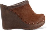 See by Chloe Leather-trimmed Calf Hair Wedge Clogs - Brown