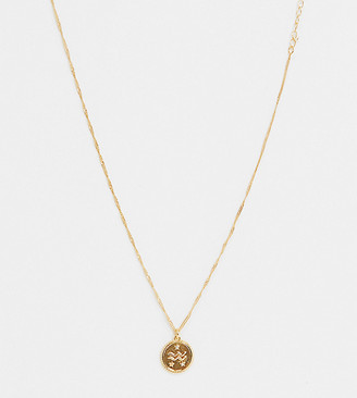 Reclaimed Vintage inspired premium 14k aquarius horoscope necklace in gold