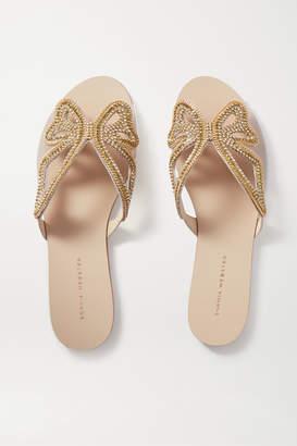 Sophia Webster Madame Butterfly Embellished Leather And Pvc Slides - Gold