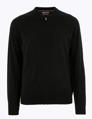 M&S CollectionMarks and Spencer Pure Extra Fine Merino Wool Bomber Jacket