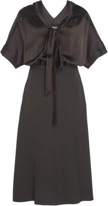 Rochas Bow-Detailed Satin Midi Dress