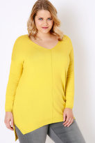 Yours Clothing Citrus Yellow Knitted V-Neck Longline Jumper With Step Hem