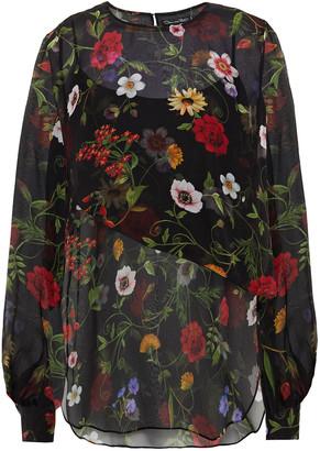 Oscar de la Renta Floral-print Silk-chiffon Blouse