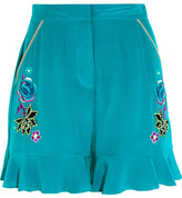 Matthew Williamson Sakura Embroidered Silk Crepe De Chine Shorts - Light blue