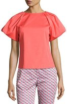 Armani Collezioni Pleat-Neck Puff-Sleeve Blouse, Pink