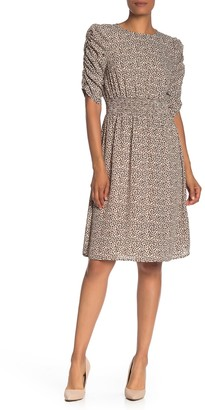 Bobeau Leopard Print Ruched Sleeve Dress
