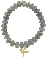 Sydney Evan Hummingbird On Grey Moonstone Beaded Bracelet
