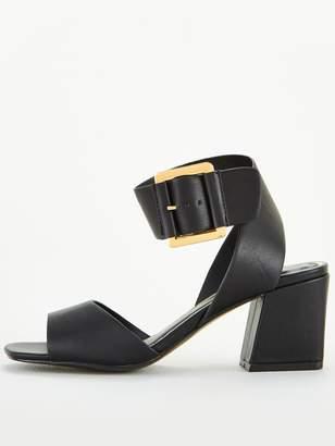 Very Granger Mid Block Heel Buckle Sandals - Black