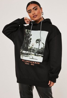 Missguided Petite Black Bad Influence Graphic Hoodie