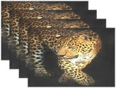 """WOZO Animal Leopard Portrait Placemat Table Mat, Leopard Print Black 12"""" x 18"""" Polyester Table Place Mat for Kitchen Dining Room Set of 6 for Kids"""