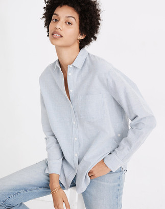 Madewell Side-Button Oversized Ex-Boyfriend Shirt in Stripe