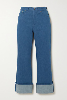 Chloé Cropped Two-tone High-rise Flared Jeans - Blue
