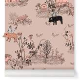 SIAN ZENG Woodland magnetic wallpaper and magnets - grey blue