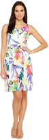 Ellen Tracy Floral Printed Fit & Flare Dress with Wide Neckline
