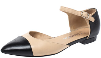 Chanel Beige/Black Leather Cap Toe D'Orsay Ankle Strap Flats Size 35