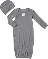 Burt's Bees Baby Solid Lap Shoulder Gown & Cap Set (Baby)-Gray-One Size