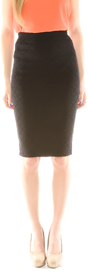 Torn By Ronny Kobo Eyelet Pattern Pencil Skirt