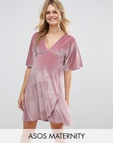 Asos Velvet Plunge Mini Dress With Kimono Sleeve