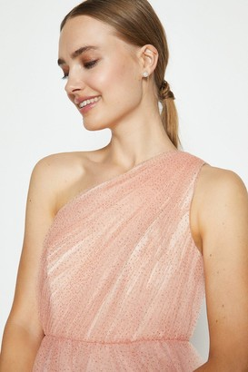 Coast One Shoulder Glitter Mesh Maxi Dress