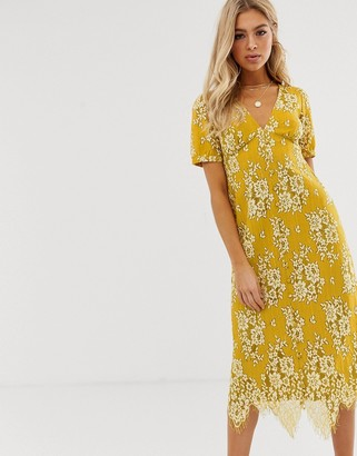 Asos Design DESIGN midi button through lace tea dress