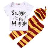 Charm Kingdom Baby Boys Girls Snuggle this Muggle Short Sleeve T-shirt and Striped Pants Outfit with Hat
