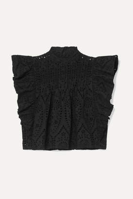 Ganni Cropped Ruffled Broderie Anglaise Cotton Top - Black