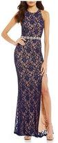 Jodi Kristopher Glitter Two-Tone Lace Long Dress