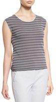 Armani Collezioni Cap-Sleeve Cubic-Knit Tee, White/Gray