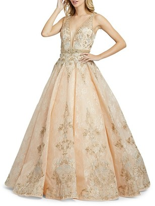Mac Duggal Floral & Lace Ball Gown