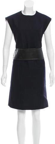Celine Leather-Accented Wool Dress w/ Tags
