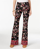 Amy Byer Juniors' Floral-Print Knit Flared Pants