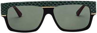 Gucci Embossed Flat Top Sunglasses