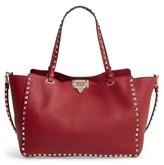 Valentino Garavani Medium Rockstud Grained Calfskin Leather Tote - Burgundy
