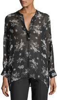 Vince Tossed Floral-Print Shirred Sheer Silk Blouse