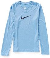 Nike Big Girls 7-16 Legend V-Neck Swoosh Tee