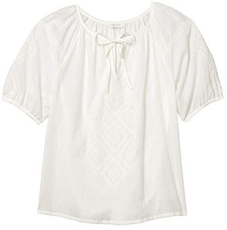 Lucky Brand Short Sleeve V-Neck Embroidered Peasant Top (Bright White) Women's Clothing